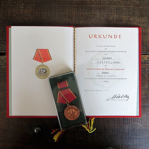 Medal DDR Distinguished Service National People's Army Bronze With Certificate