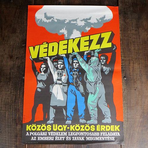 Poster Hungary Original Nuclear Poster 1970 Pal Gyorgy