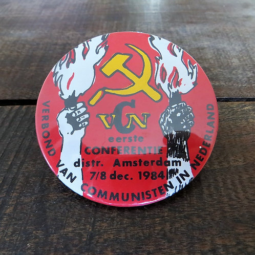 Pin Netherland Button Party Of Communists Of The Netherlands 1984