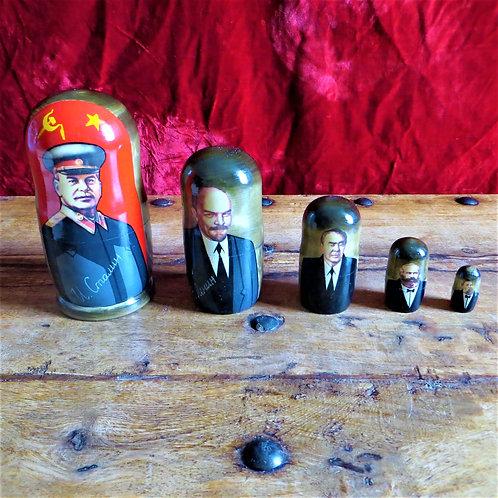 Matroesjka Nesting Dolls Stalin, Lenin, Brezhnev, Marx, Engels
