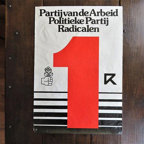 Poster Netherlands Original PvdA Political Party Radicals