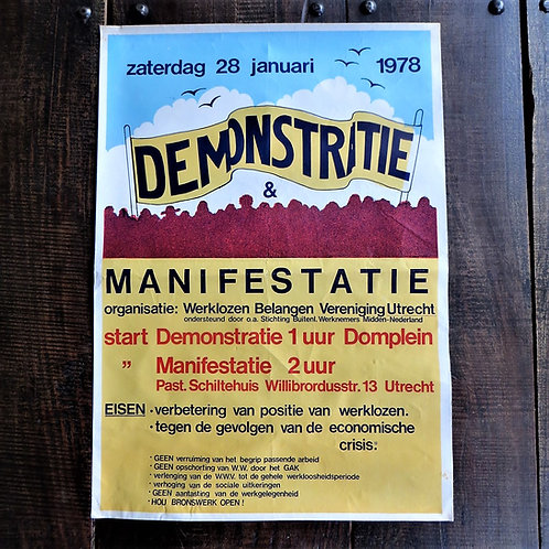 Poster Netherlands Original Unemployment Demonstration 1978