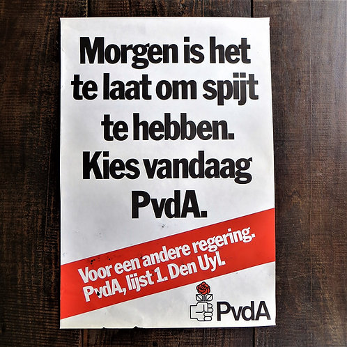 Poster Netherlands Original Election Poster PvdA, Labour Party