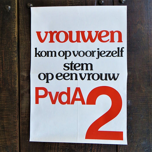 Poster Netherlands Original PvdA Vote For A Woman