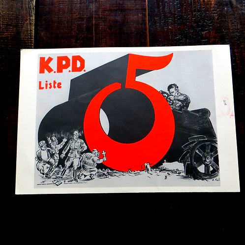 Poster Hungary Reproduction Sandor Ek Communist Party Germany 1975