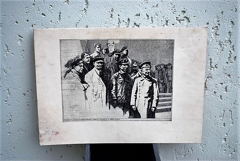 Etch  Lenin And Trotski Celebrating October Revolution Signed