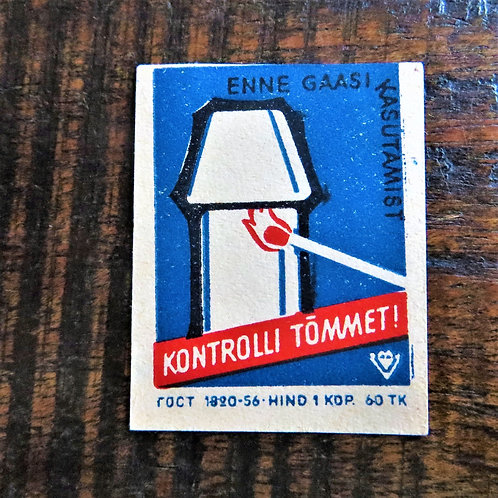 Matchbox Label Estonia Warnings Gas Danger