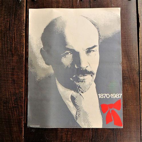 Poster Soviet Russia Original Lenin 1987