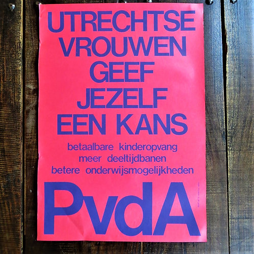 Poster Netherlands Original Red Woman PvdA