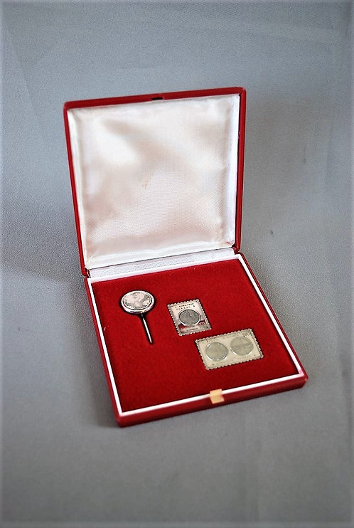 Pin Soviet Russia Space Interkosmos Real Silver Pin Set 1980