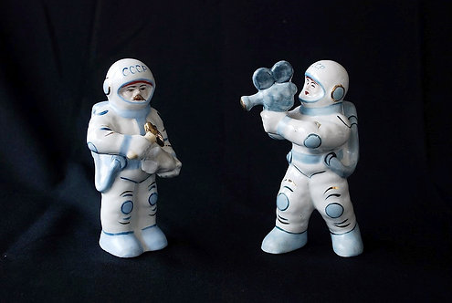 Statue Soviet Russia Space Man And Woman On The Moon