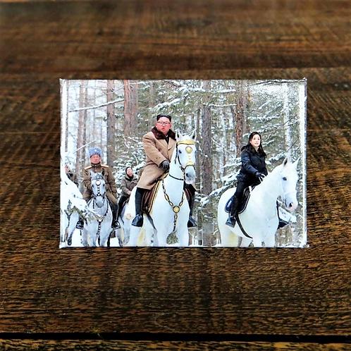 Fridge Magnet Kim Jong Un Riding Horse
