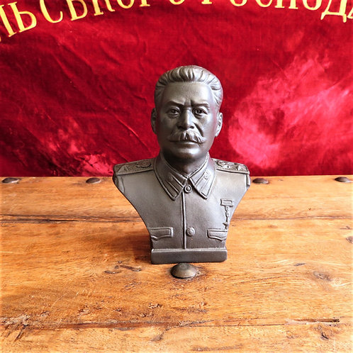 Bust Stalin Made Of Plaster With Signature