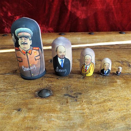 Matroesjka Nesting Dolls Russian Leader, Stalin, Lenin, Khrushchev, Gorba
