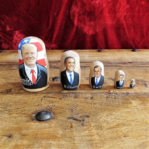 Matroesjka Nesting Dolls Trump, Obama, George Bush, ROnald Reagan, Nixon