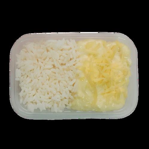 Escondidinho de mandioca com frango e arroz branco