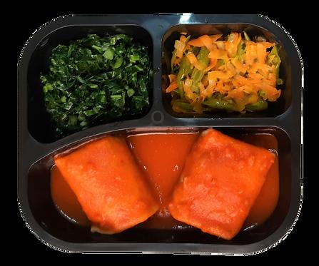 Panqueca integral de carne, vagem com cenoura e couve