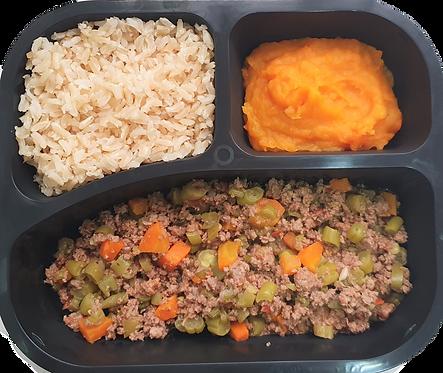Moída à primavera, arroz integral e purê de legumes