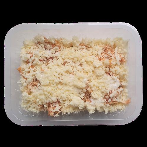 Lasanha de pupunha com frango e molho branco