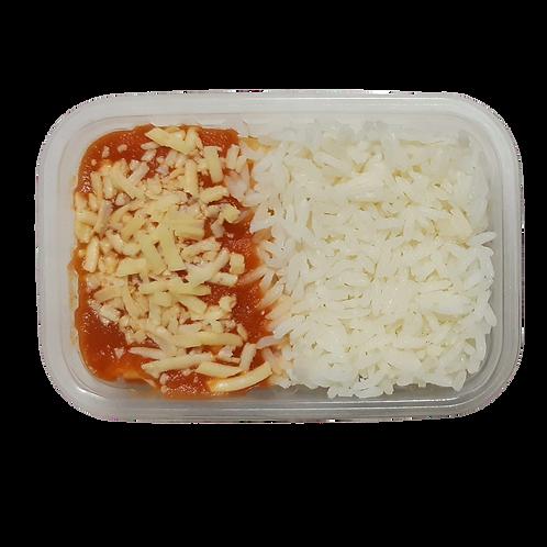 Panqueca de frango com arroz branco
