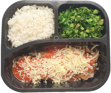 Parmegiana de filé mignon, arroz branco e couve