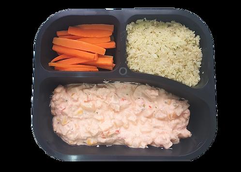 Strogonoff de palmito, arroz de couve flor e cenoura