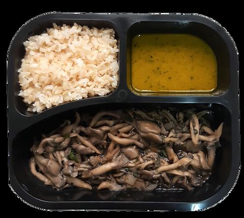 Shimeji refogado, arroz integral e abóbora