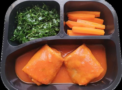 Panqueca integral de palmito, cenoura e couve