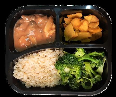 Strogonoff de filé c/ biomassa, arroz integral batata doce e brócolis
