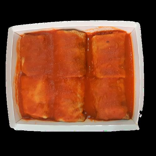Panqueca integral de frango com requeijão