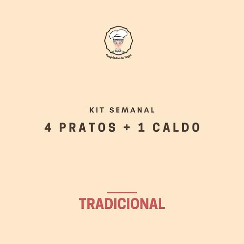 Kit Semanal Tradicional 4 Pratos + 1 Caldo (Pagamento no Cartão)