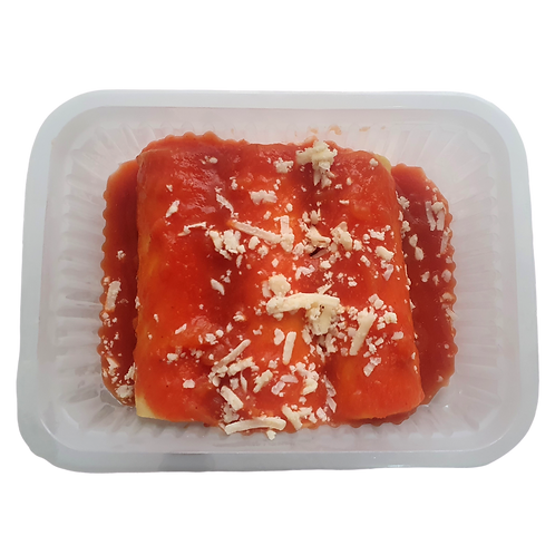 Canelone de massa fresca com peito de peru e queijo