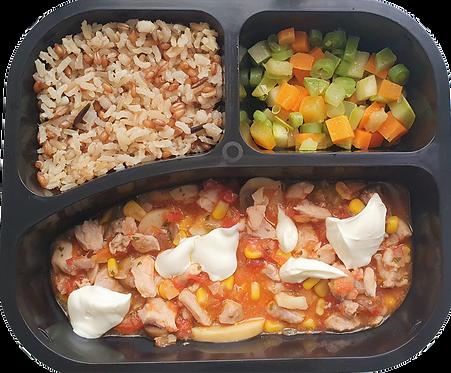 Picadinho de frango com requeijão, arroz 7 grãos e seleta de legumes