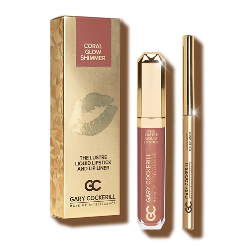 THE LUSTRE LIQUID LIPSTICK AND LIP LINER - CORAL GLOW SHIMMER