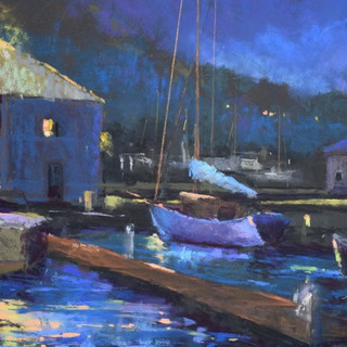 Evening at the Boat Shop, Pastel (12x16)