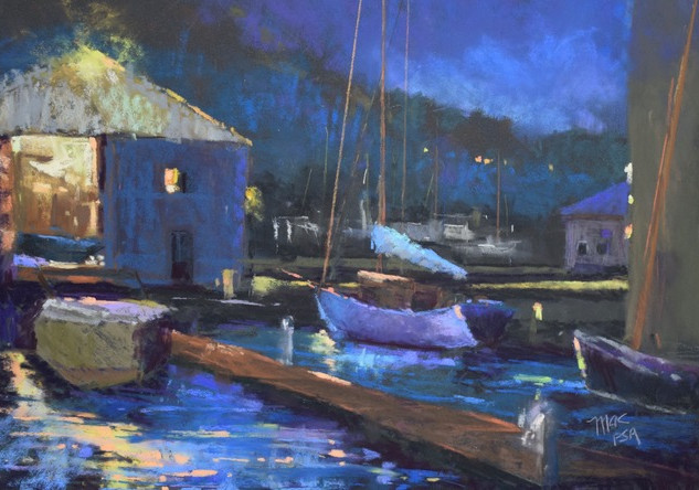 Evening at the Boat Shop (12x16)
