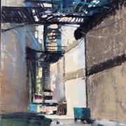 Urban Alley, Pastel (9x12)