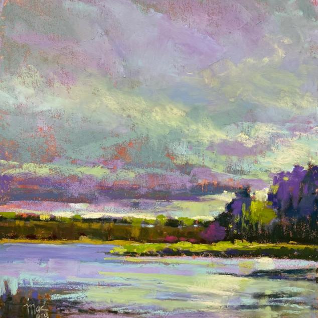 Mink River Estuary, Pastel - 9x9 (16x16)