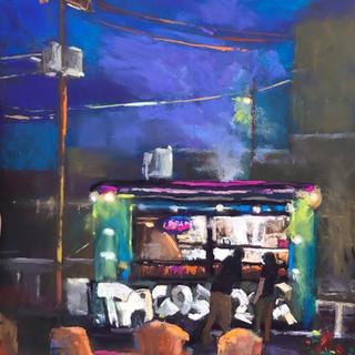 Taco Truck, Pastel (16x12)