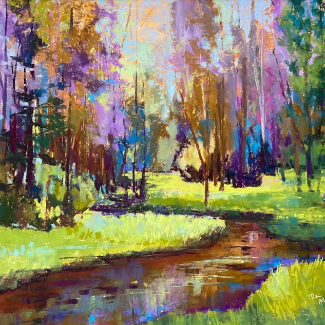 Summer Day Creekside, Pastel - 27x34 (41x48)