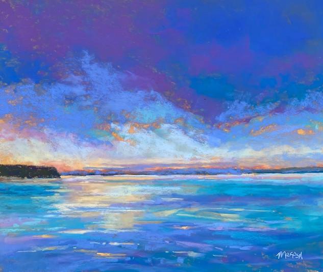 Sunset Over Sherwood Point, Pastel - 15x18 (21x24)