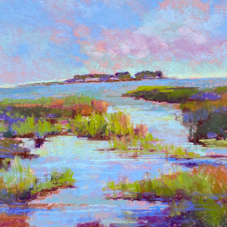 Summer Day Anclam Marsh, Pastel - 21x22 (23x24)