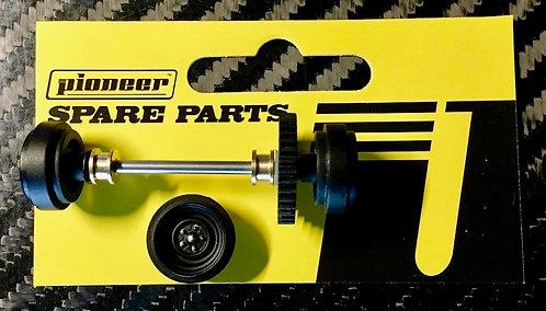 Pioneer Rear Axle Assembly - Black Grand-Am 'Steelie' Style Wheels