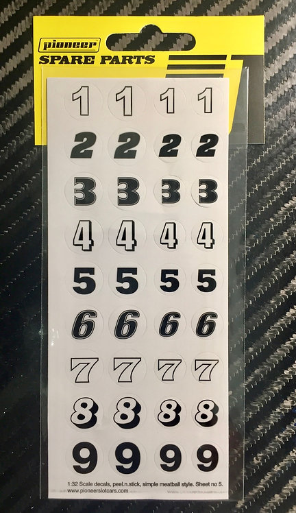 Pioneer Racing Numbers (1-9) Sticker Sheet #5