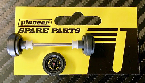 Pioneer Street Car Front Axle Assembly - 'Mag 500' Grey Wheels