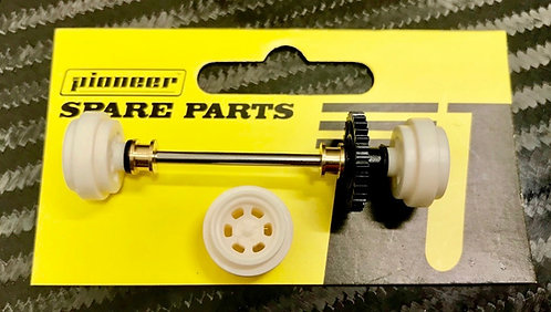 Pioneer Legends Rear Axle Assembly - White 'Bassett' Style Wheels