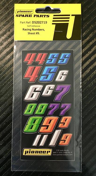 Pioneer Various Racing Numbers Sticker Sheet #9