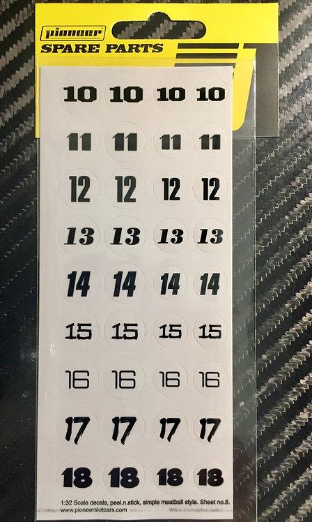 Pioneer Racing Numbers (10-18) Sticker Sheet #6