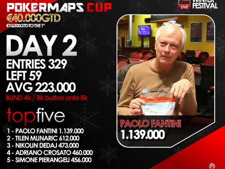 Poker Maps Cup da 329 entries. In 59 al Final Day