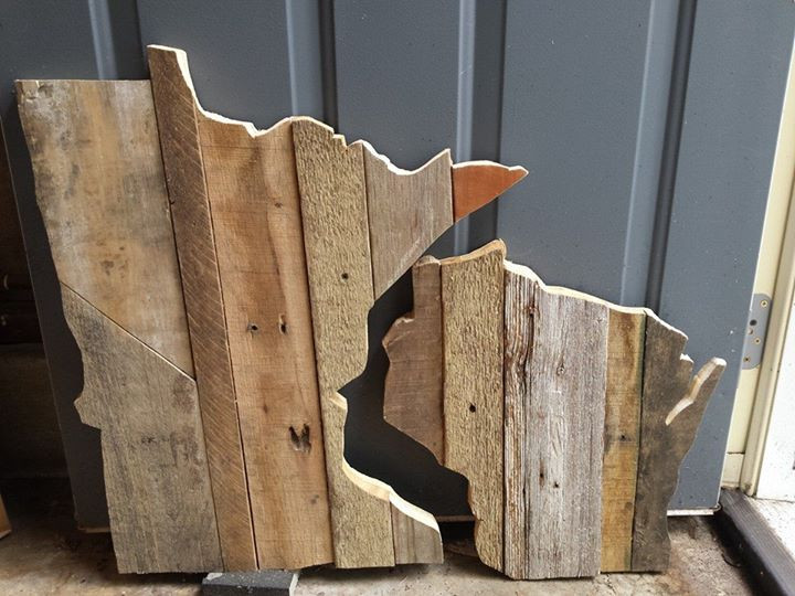 Hand made from reclaimed wood. MN and WI wall art.jpg
